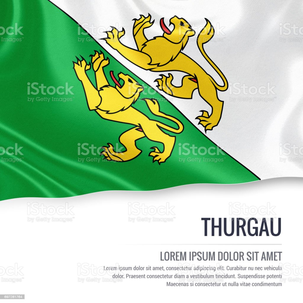 Switzerland state Thurgau flag waving on an isolated white background. State name and the text area for your message. 3D illustration. stock photo