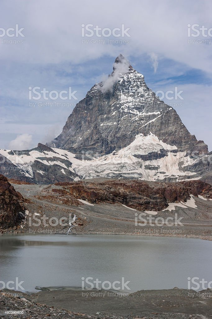 Switzerland. The Matterhorn from the Schwarzsee lake stock photo