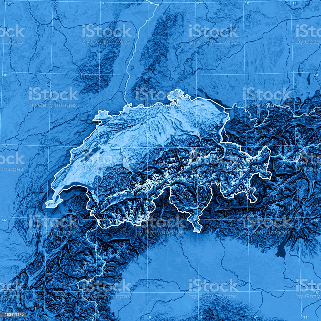 Switzerland Topographic Map stock photo