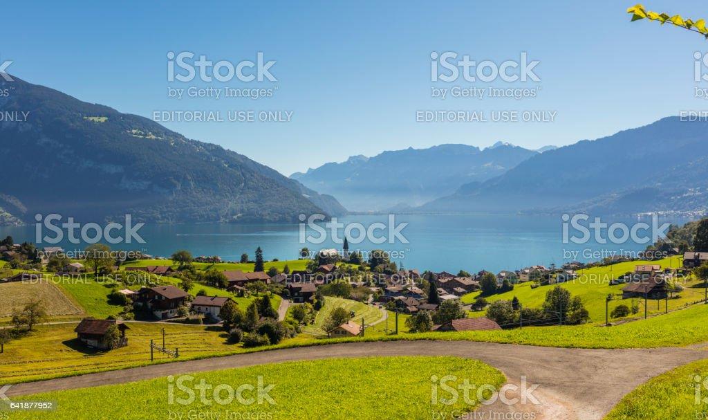 Switzerland. Village of Faulensee and Lake Thun in summer stock photo