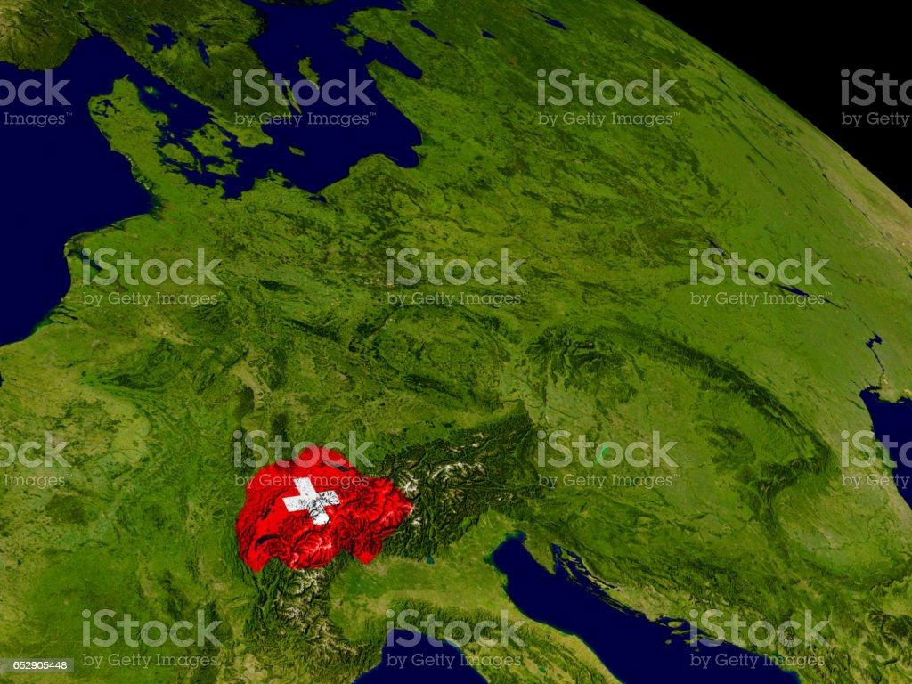 Switzerland with flag on Earth stock photo