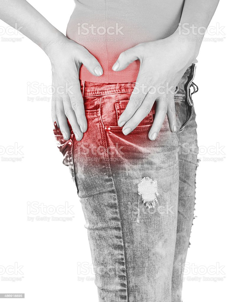 Swollen hurting hip. stock photo