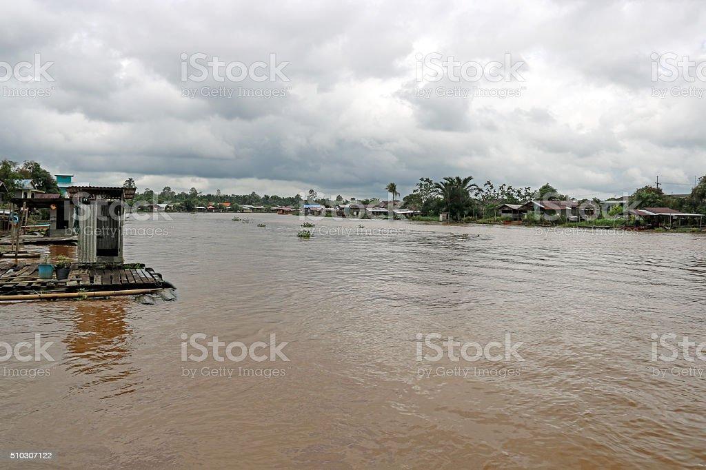 Swollen River in Monsoon Season Sarawak Borneo stock photo