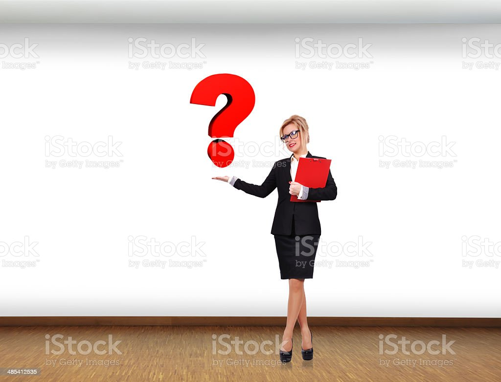 swoman holding question royalty-free stock photo