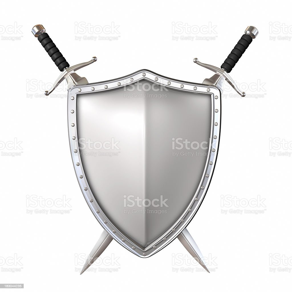 Sword and shield stock photo
