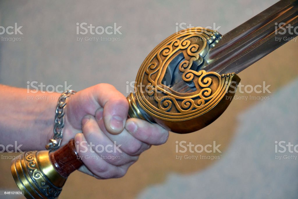 Sword at a hand stock photo