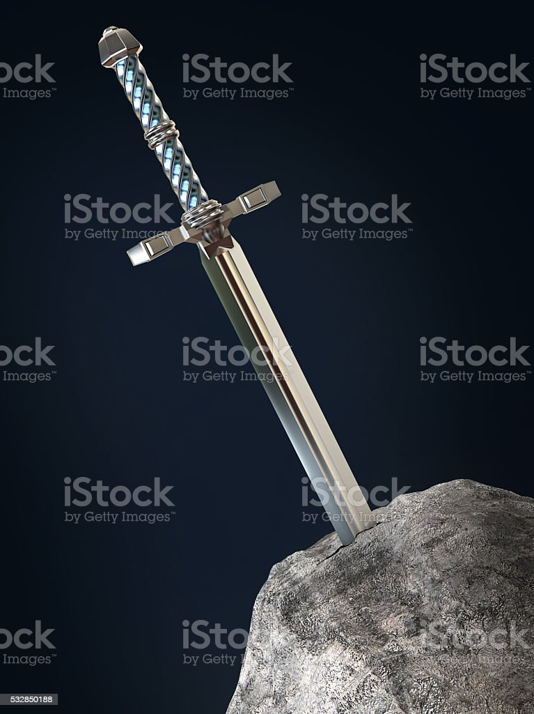 sword excalibur  King Arthur stuck in the rock stone isolated stock photo