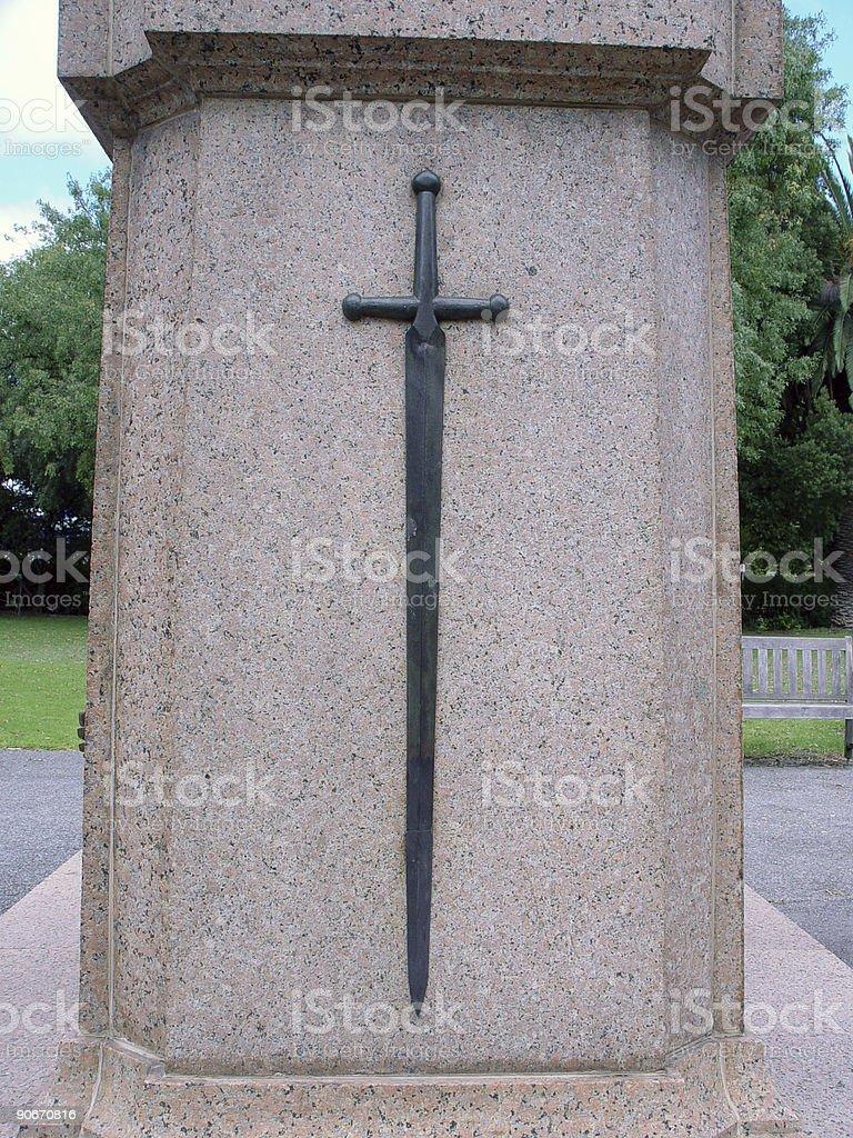 Sword on monument stock photo