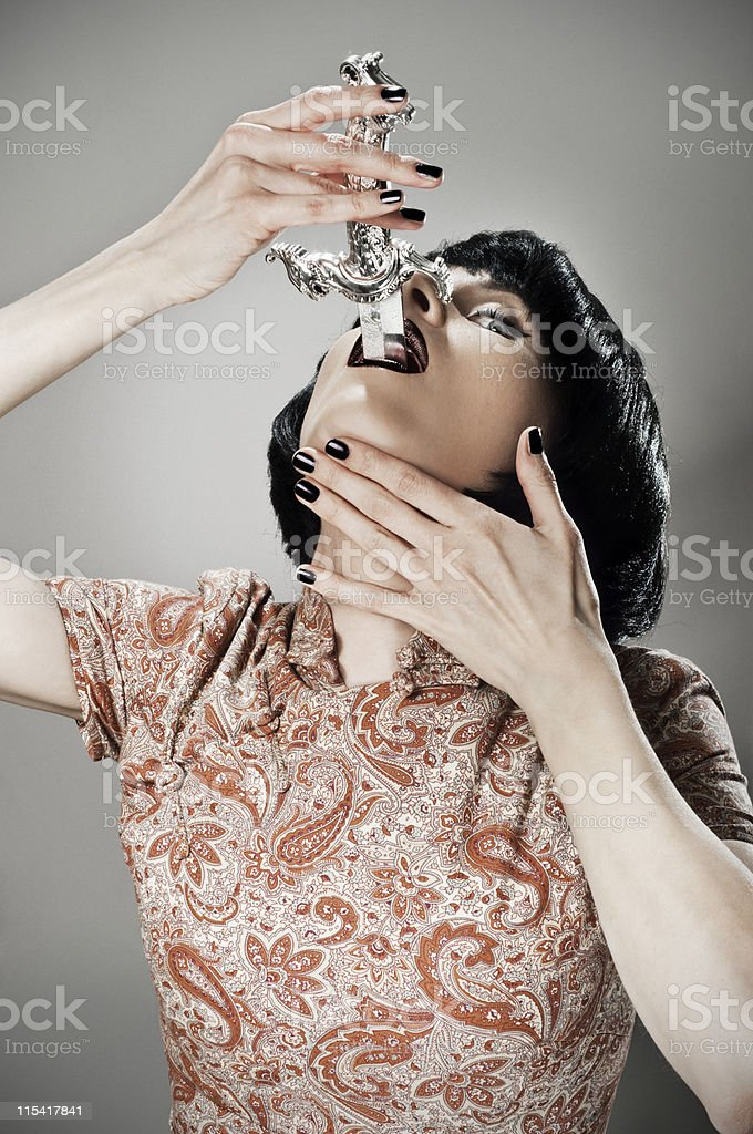 sword swallower royalty-free stock photo