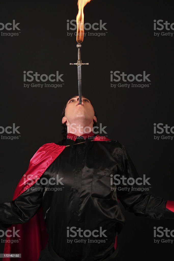 Sword Swallower stock photo