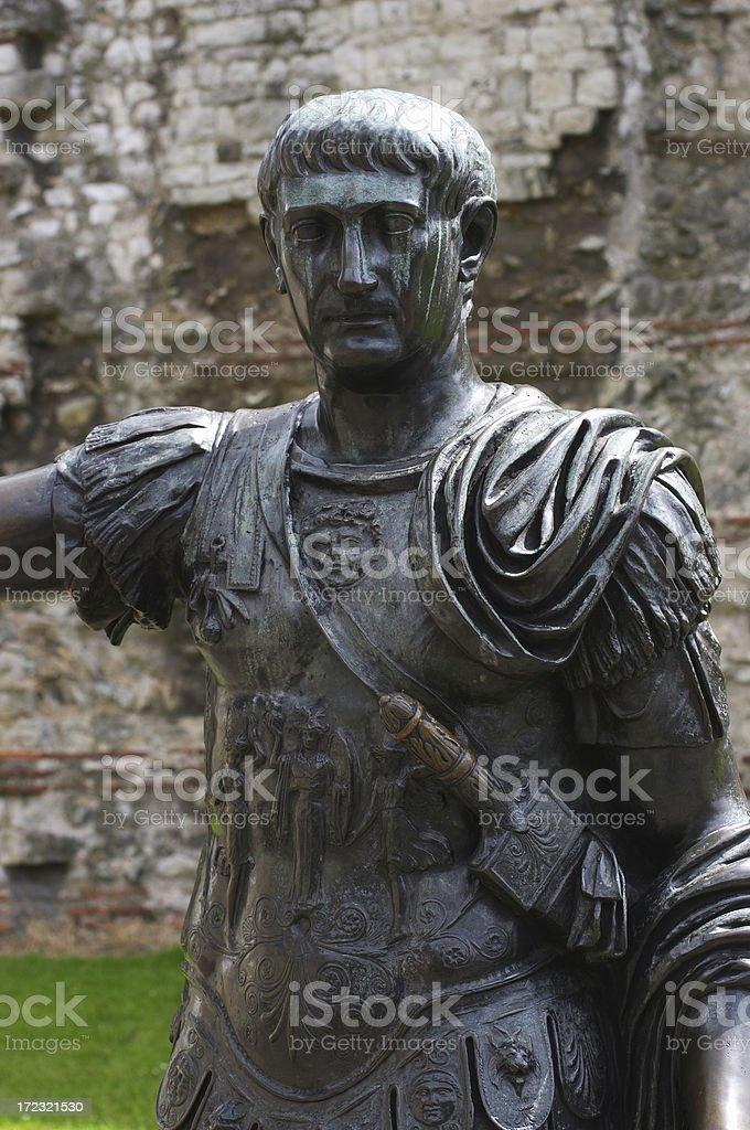 Sword-bearing Roman emperor at London Wall royalty-free stock photo