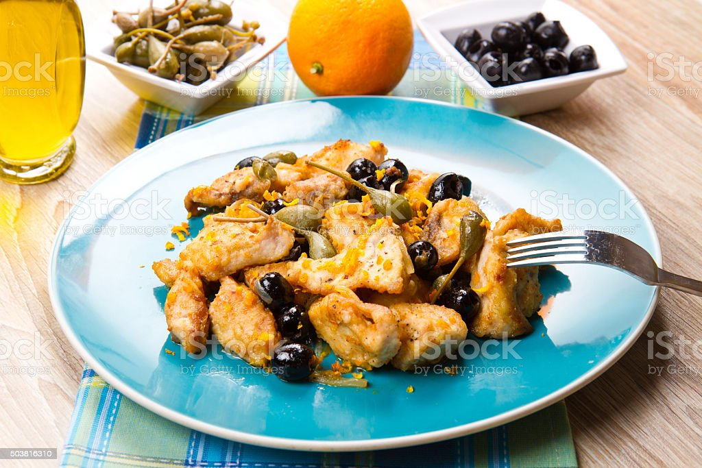 swordfish stew with caper and olives stock photo