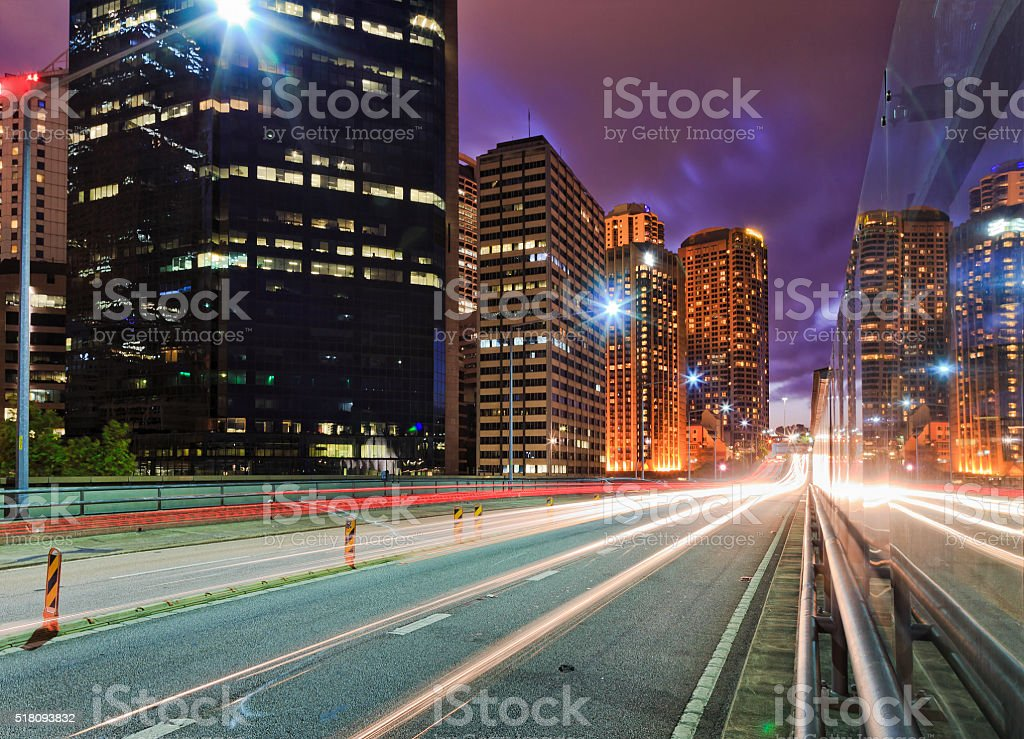 Sy Circular Quay expressway sunset stock photo