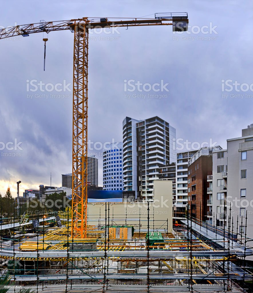 Sy Construct Site St Leon Pan stock photo