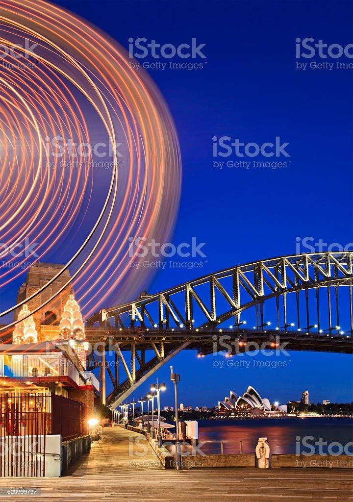 Sydne Luna Ferry Wheel Arc Vert sunset stock photo