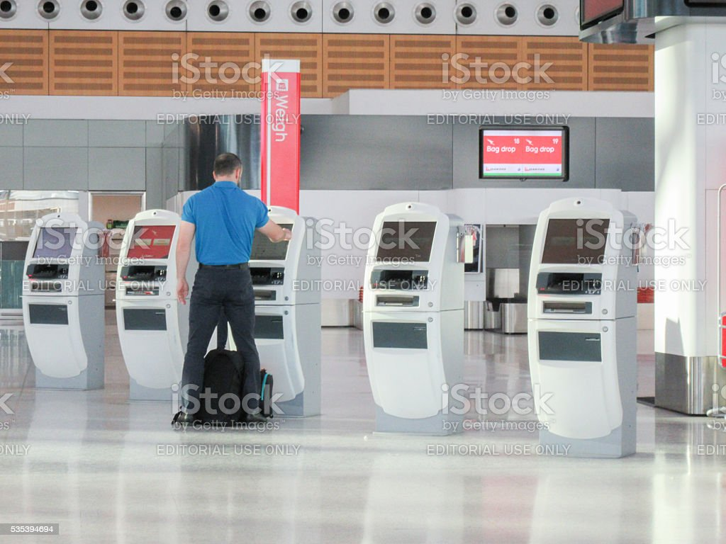 Sydney Airport Self Check In stock photo
