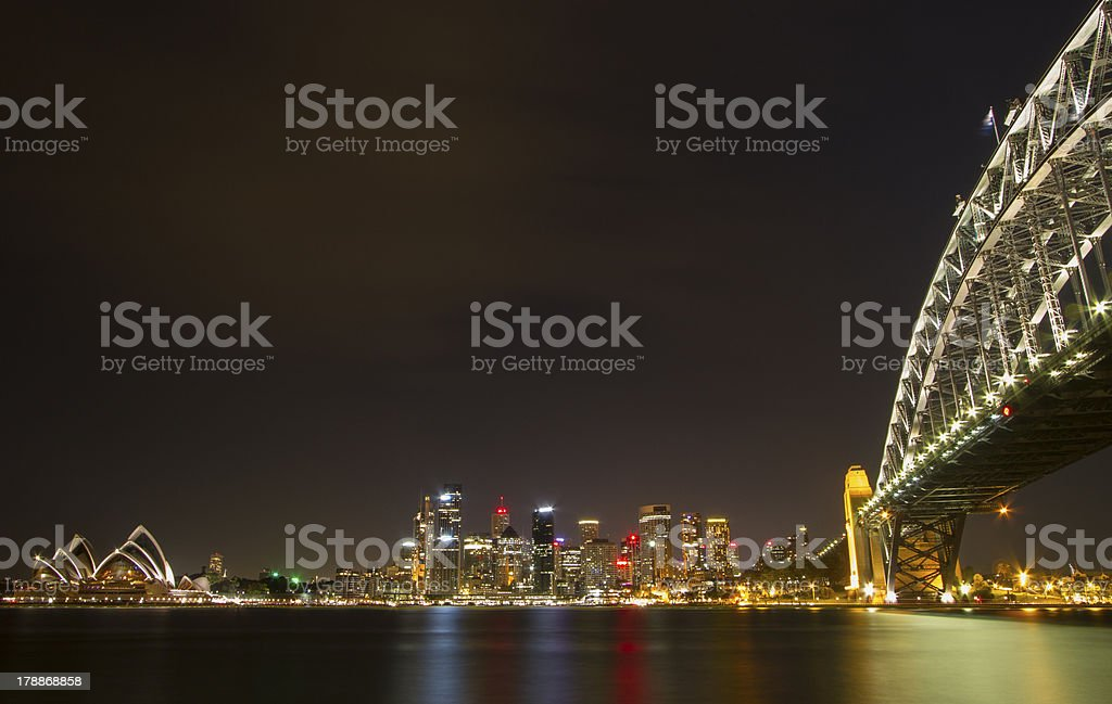 Sydney Attractions By Night royalty-free stock photo