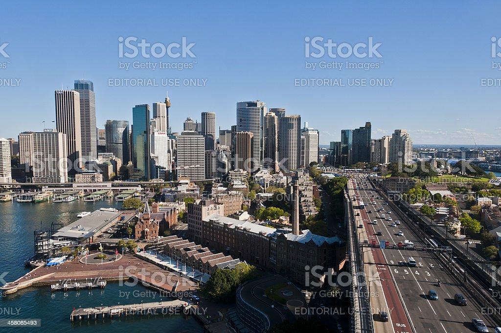 Sydney, Australia, Circular Quay, Traffic and Cityscape, from Harbour Bridge royalty-free stock photo