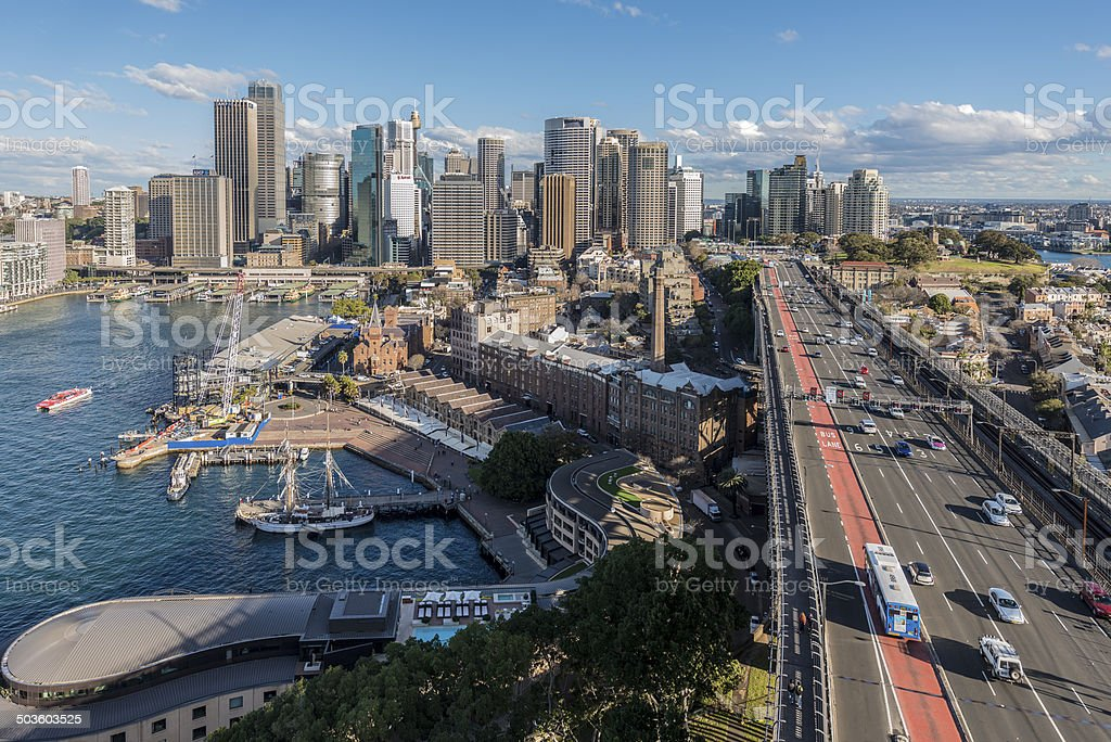 Sydney, Australia, Circular Quay. Traffic and Cityscape from Harbour Bridge. stock photo