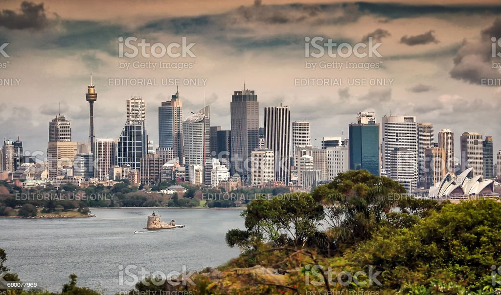 Sydney, Australia. May 2005. View of Sydney downtown with Sydney tower and Opera House stock photo