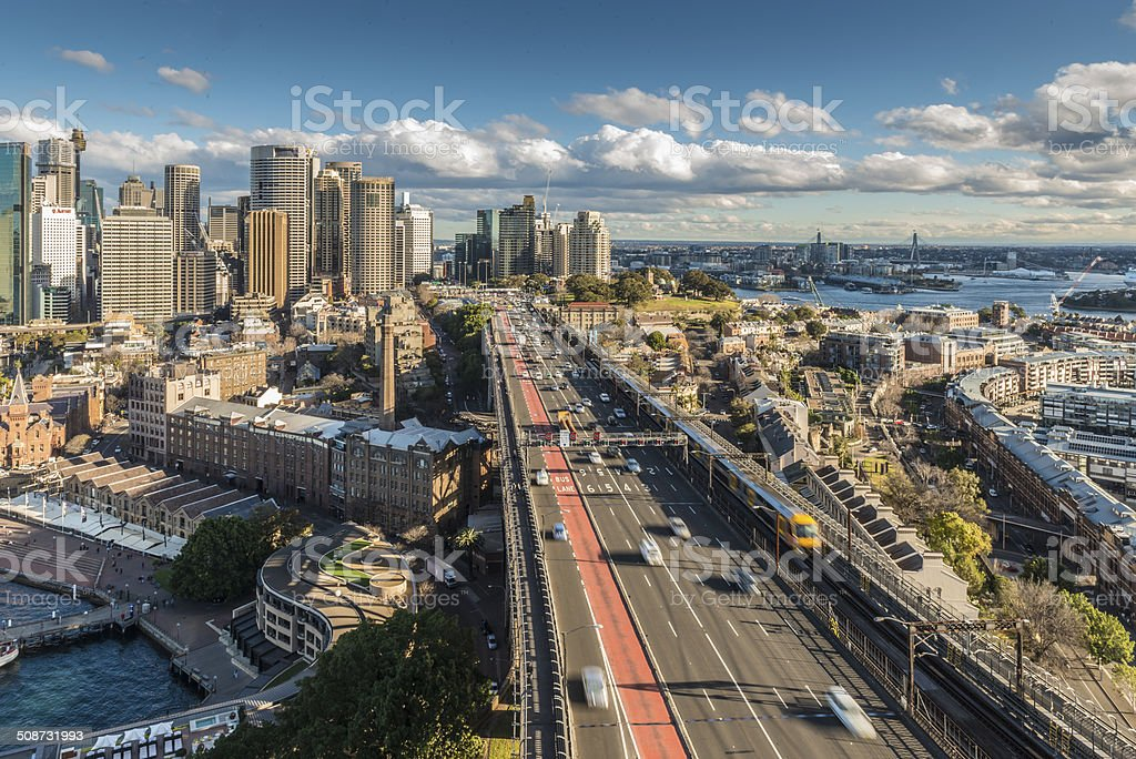 Sydney, Australia, Multiple Lane Traffic at Harbour Bridge, The Rocks stock photo