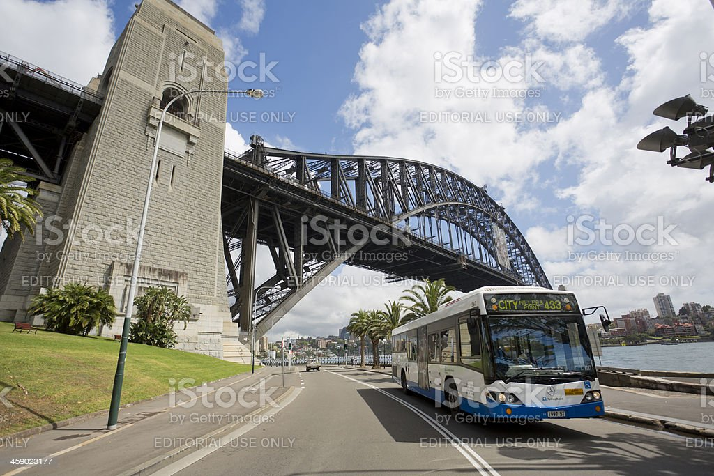 Sydney Bus and Harbour Bridge royalty-free stock photo