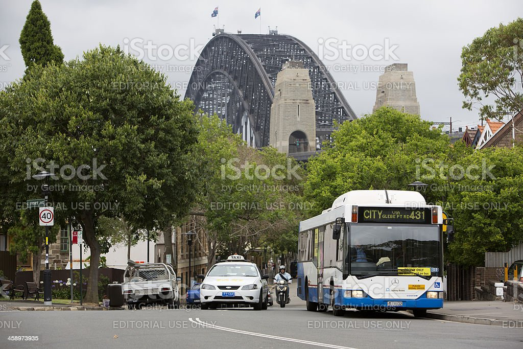 Sydney Bus and Taxi With Harbour Bridge royalty-free stock photo