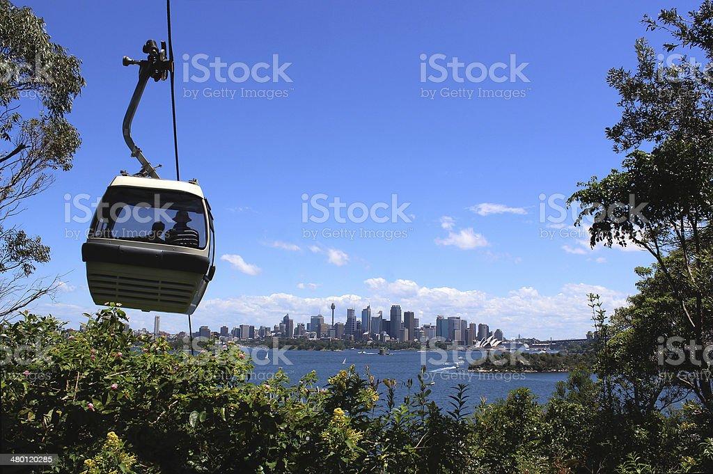 Sydney Cable Car, Opera House and Bridge from Taronga Zoo stock photo