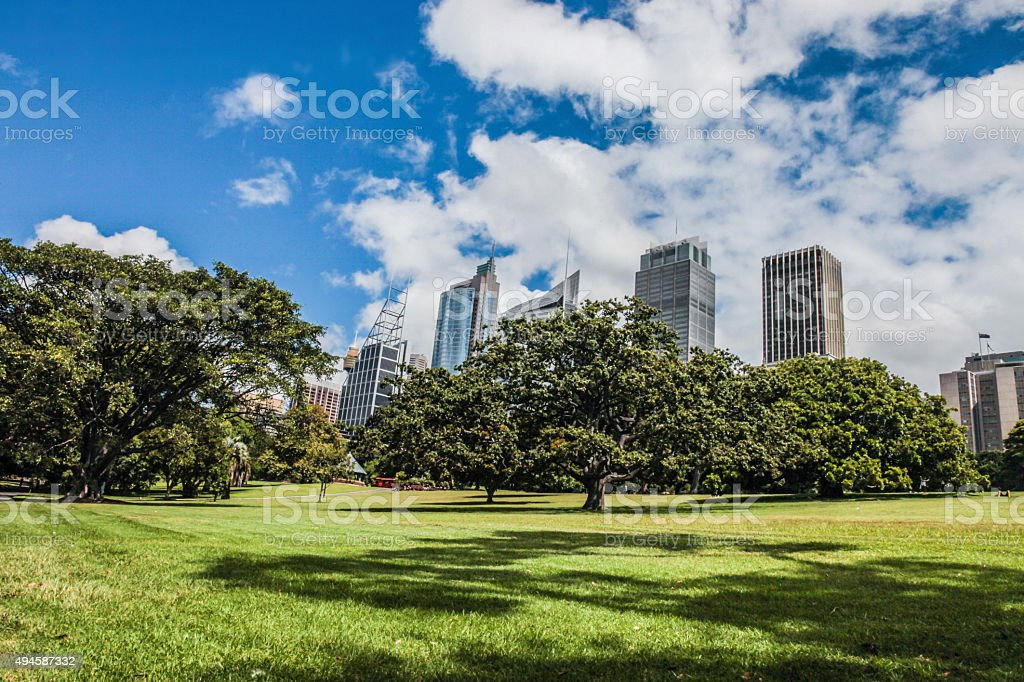 Sydney CBD and Royal Botanic Garden stock photo