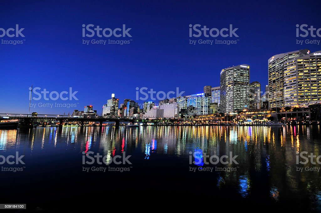 Sydney cbd darling harbour night scape with nice eveing sky stock photo