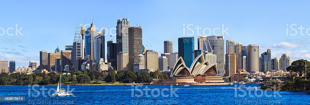 Sydney CBD Day From Boat panorama stock photo
