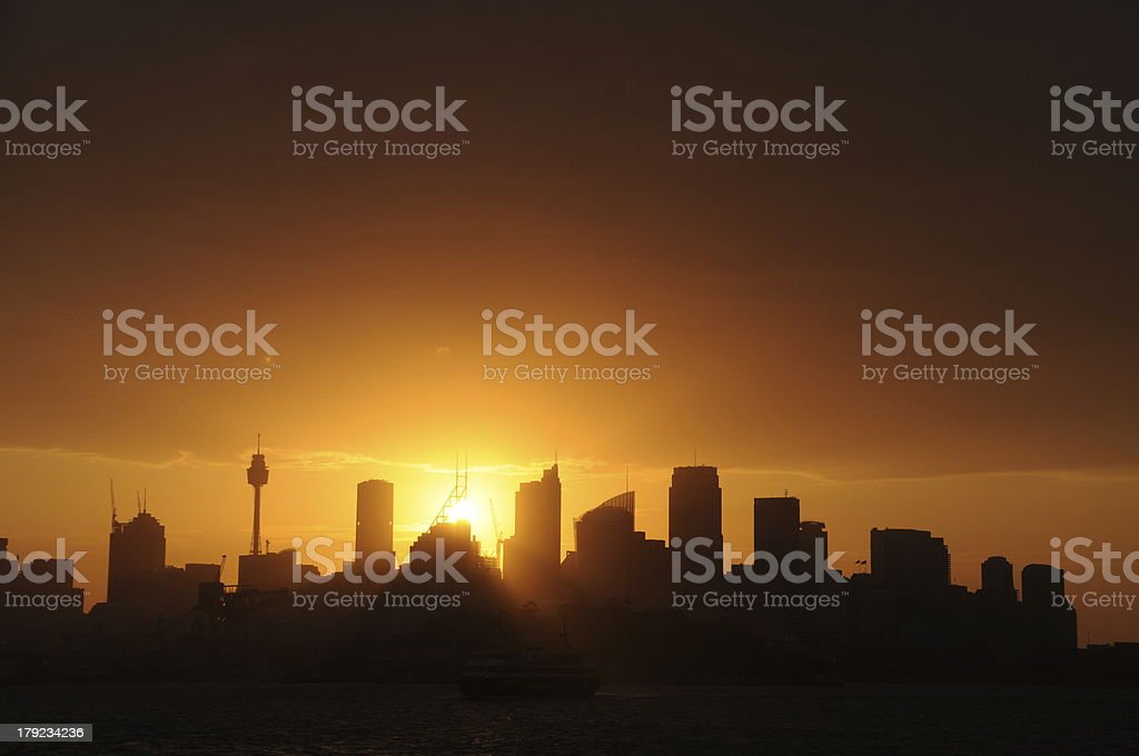 Sydney CBD Skyline Sillhouette royalty-free stock photo