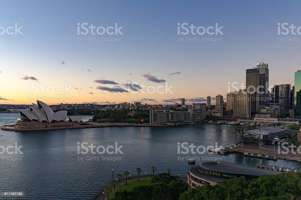Sydney Circular Quay and CBD skyscrapers on sunrise stock photo