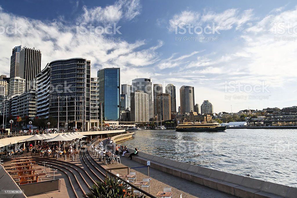 Sydney Circular Quay on clear day with blue sky and clouds  stock photo