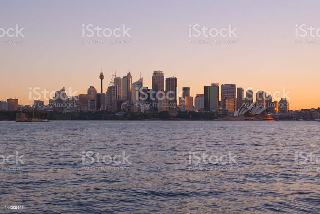 Sydney City and Harbour at Sunset royalty-free stock photo