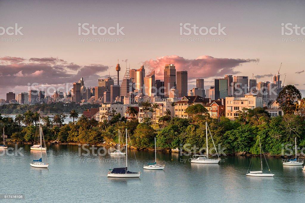 Sydney city at dusk stock photo