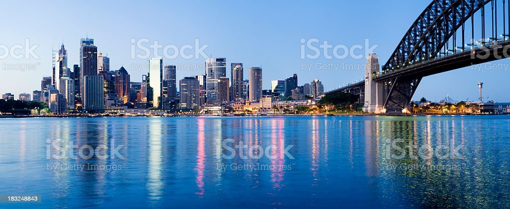 Sydney City Downtown Skyline at Night Australia stock photo