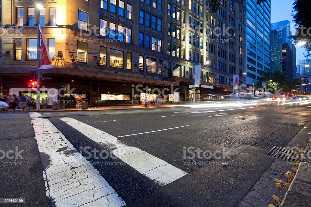 Sydney city, night light trails stock photo
