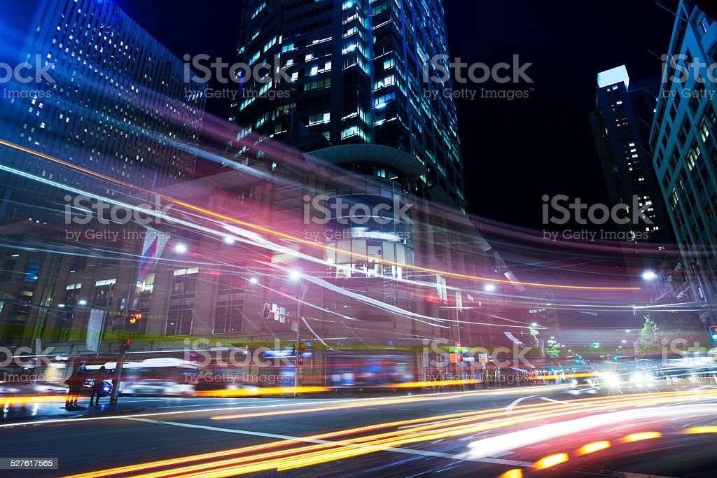 Sydney city roads at night stock photo