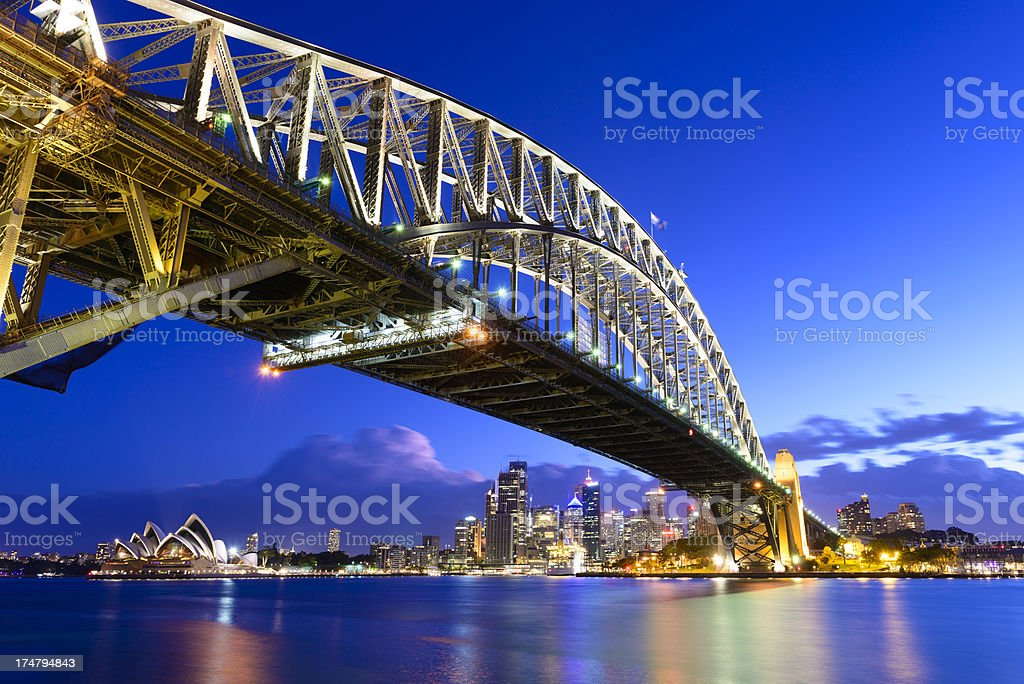 Sydney City Skyline and Harbour Bridge at Night in Australia royalty-free stock photo