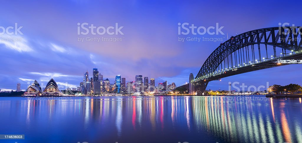 Sydney City Skyline and Harbour Bridge at Night in Australia royalty-free stock photo