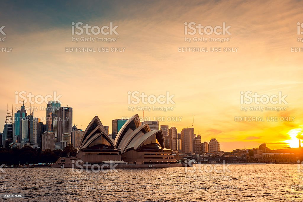 Sydney city skyline at sunset stock photo