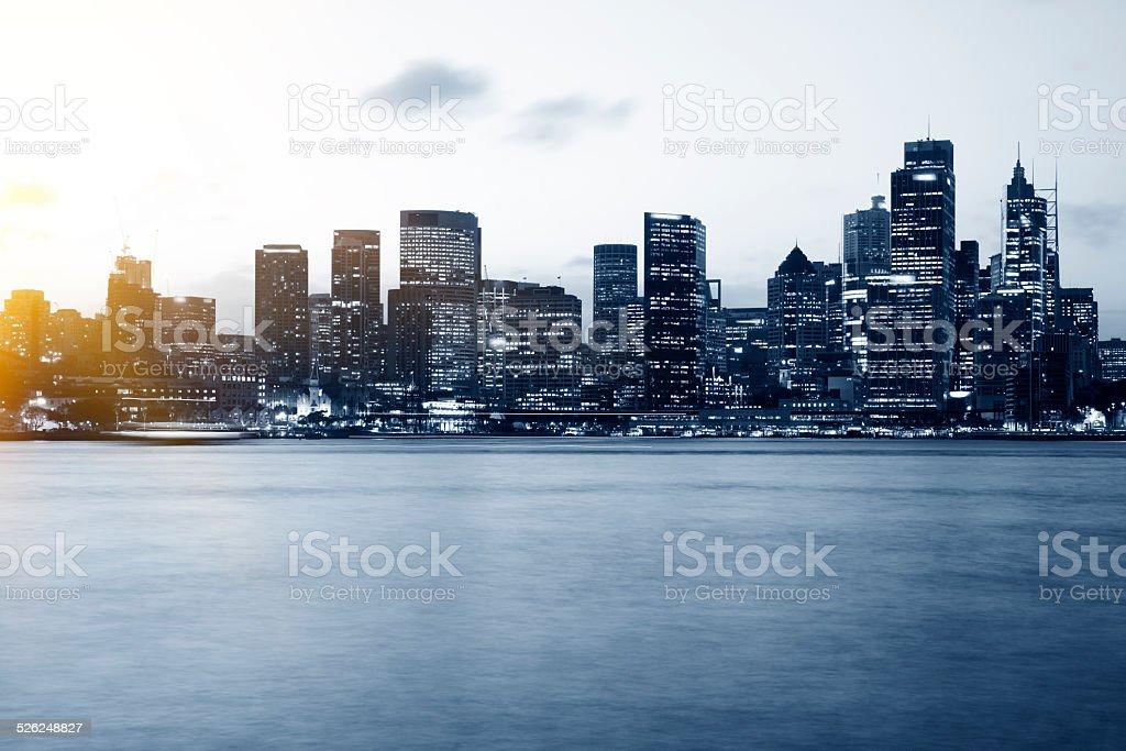 Sydney city skyline in the evening stock photo