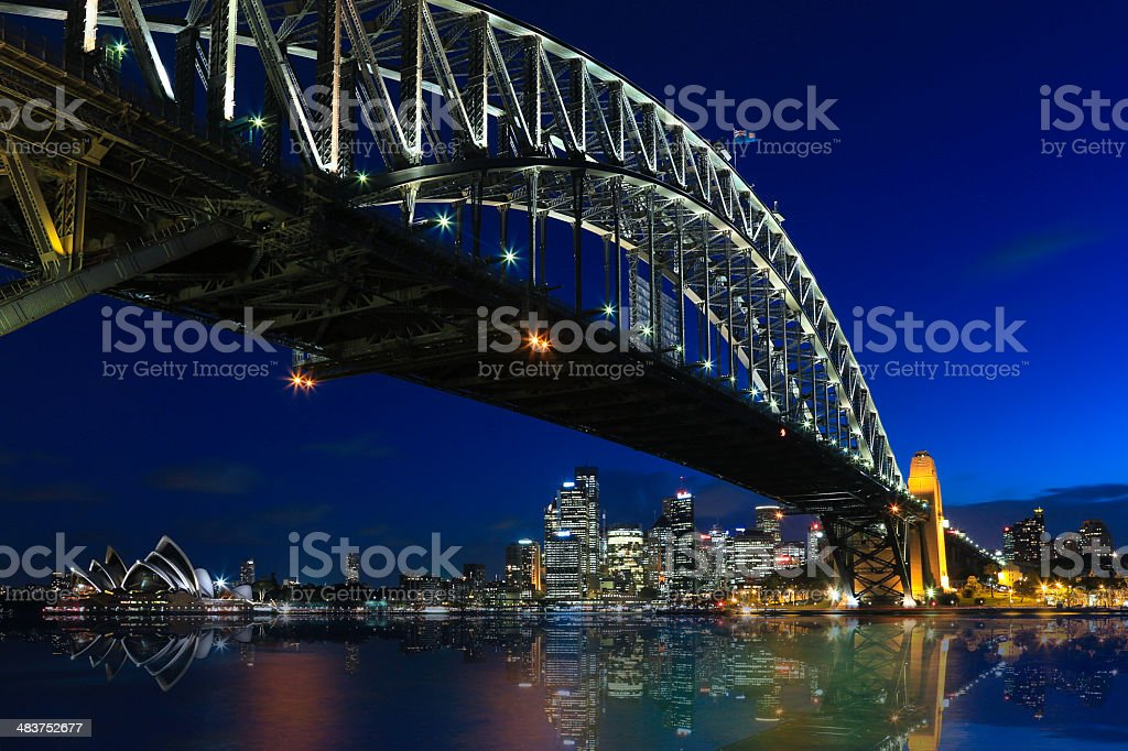 Sydney Cityscape with Opera House and Harbour Bridge at Dusk stock photo