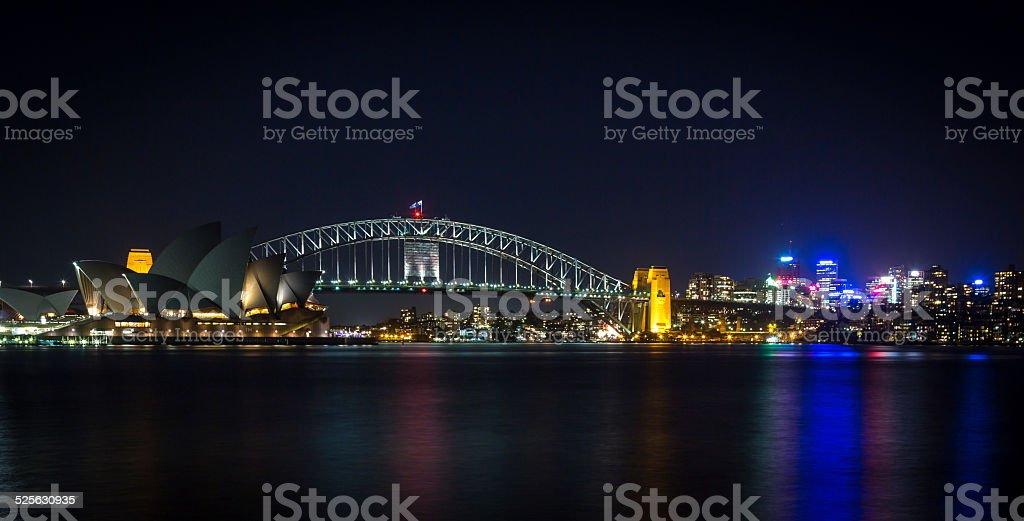 Sydney Cityscape with Opera House and Harbour Bridge at Night stock photo