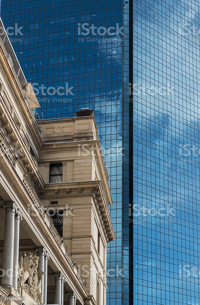 Sydney, Customs House and blue highrise office building, Australia royalty-free stock photo