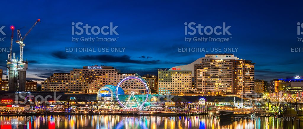 Sydney Darling Harbour at night stock photo