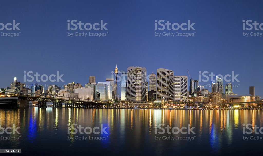 Sydney Darling Harbour twilight royalty-free stock photo