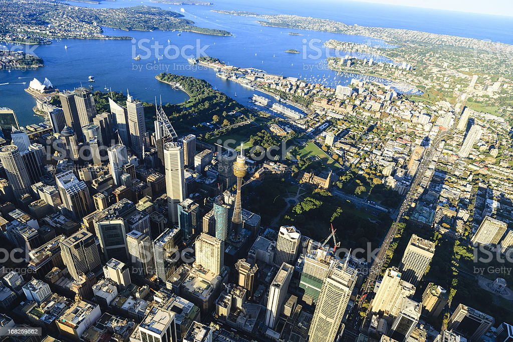 Sydney downtown - aerial view stock photo