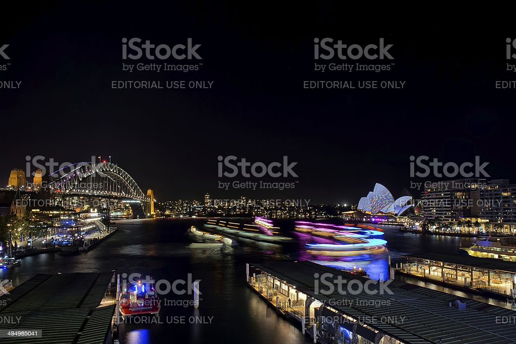 Sydney ferries with lights for Vivid festival royalty-free stock photo